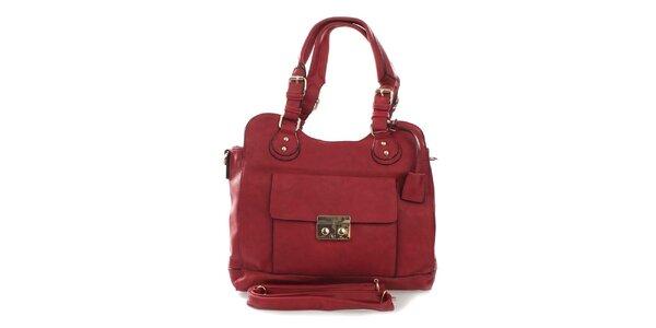 Dámska červená kabelka s odnímateľným popruhom London Fashion