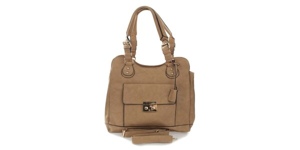 Dámska svetlo hnedá kabelka s odnímateľným popruhom London Fashion