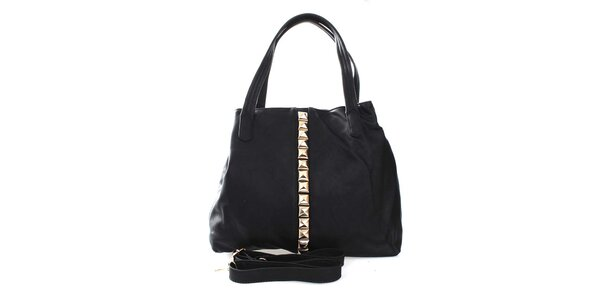 Dámska čierna kabelka so zlatými pyramídkami London Fashion