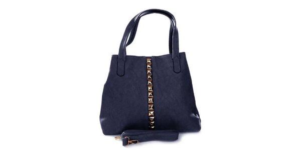 Dámska modrá kabelka so zlatými pyramídkami London Fashion