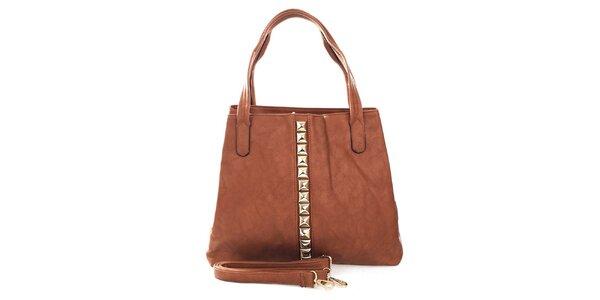 Dámska hnedá kabelka so zlatými pyramídkami London Fashion