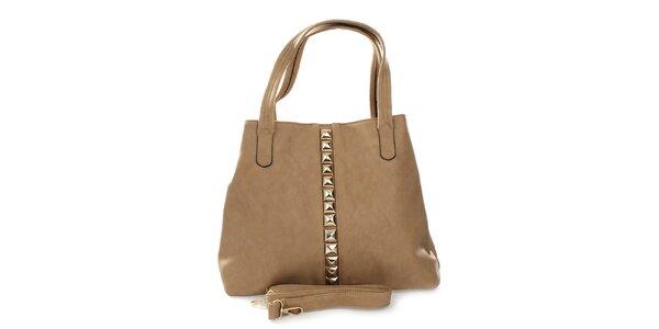 Dámska khaki kabelka so zlatými pyramídkami London Fashion