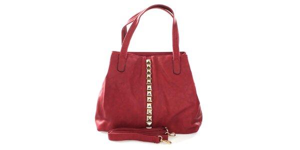 Dámska červená kabelka so zlatými pyramídkami London Fashion