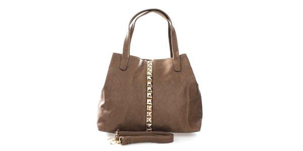 Dámska svetlo hnedá kabelka so zlatými pyramídkami London Fashion