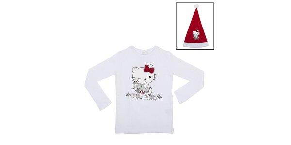 Detský vianočný set Hello Kitty - biele tričko a Santa čapica