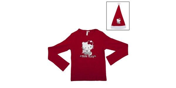 Detský vianočný set Hello Kitty - červené tričko a Santa čapica