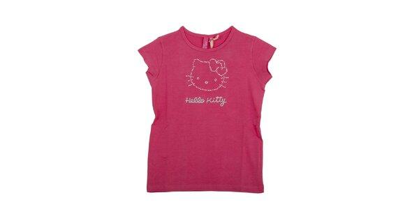 Detské malinovo ružové tričko Hello Kitty s kamienkami