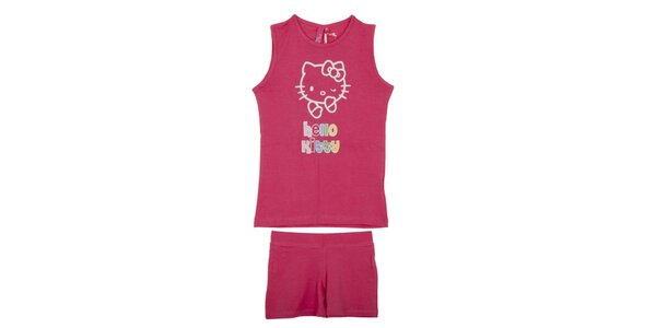 Detský malinově ružový set Hello Kitty - tielko a kraťasy