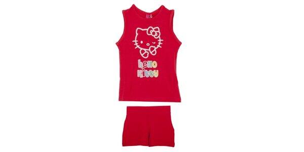 Detský červený set Hello Kitty - tielko a kraťasy