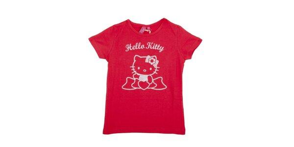 Detské sýto ružové tričko Hello Kitty s bielou potlačou