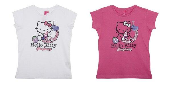 Balenie dvoch detských tričiek Hello Kitty - biele a ružové