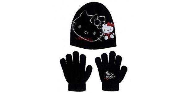 Detský čierny zimný set Hello Kitty - čapica a rukavice