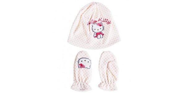 Detský biely zimný set Hello Kitty - čapica a rukavice