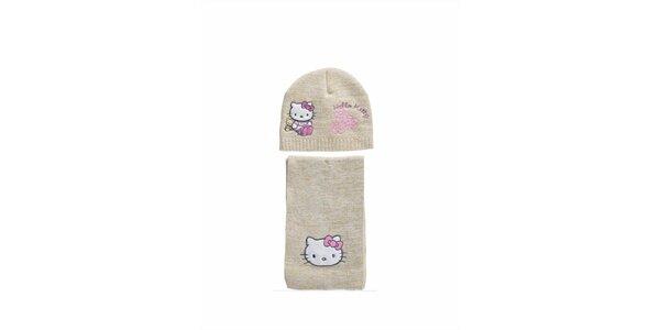 Detský béžový zimný set Hello Kitty - čapica a šála
