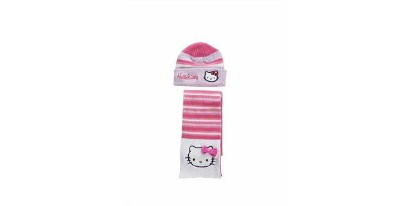 Detský sýto ružový zimný set Hello Kitty - čapica a šála