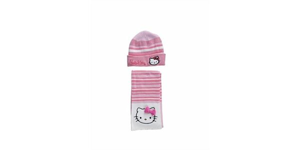 Detský svetlo ružový zimný set Hello Kitty - čapica a šála