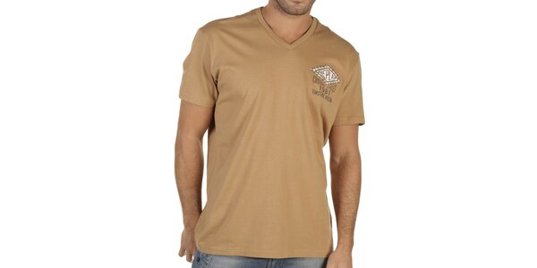Pánske tmavo béžové tričko s potlačou Replay