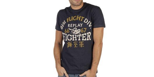 Pánske tmavo modré tričko s potlačou Replay