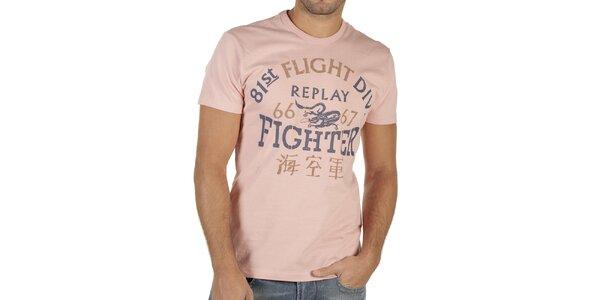 Pánske ružové tričko s potlačou Replay