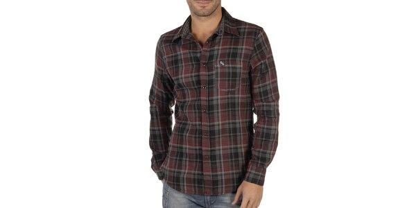 Pánska červeno-čierno kockovaná košeľa Replay