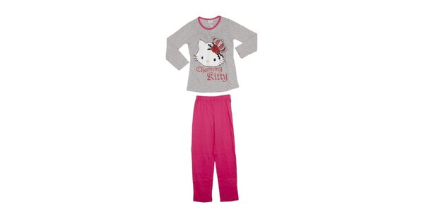 Detské šedo-ružové pyžamo Hello Kitty