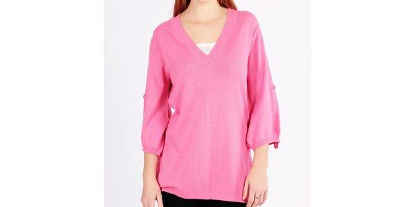 Dámsky dlhý voľný ružový sveter Emma Pernelle
