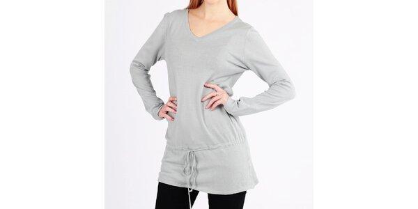 Dámsky dlhý šedý sveter so šnúrkou Emma Pernelle