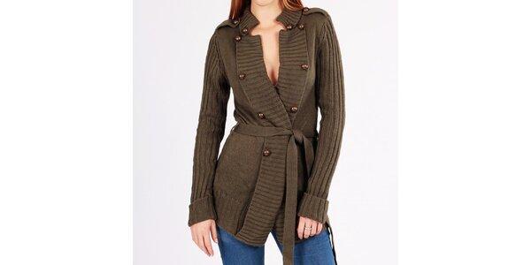 Dámsky khaki sveter s gombíkmi Gémo