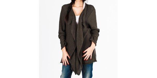 Dámsky voľný pletený šedý sveter Vétissimo