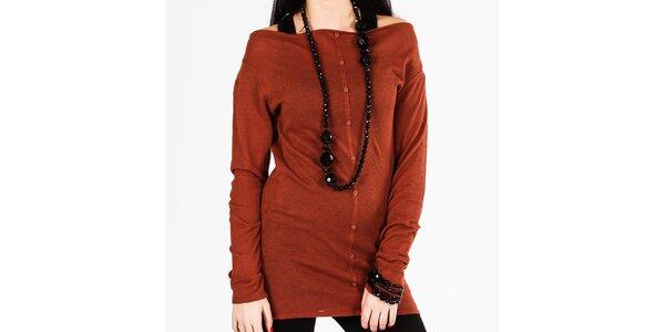Dámsky hnedý dlhý sveter s gombíkmi Gémo