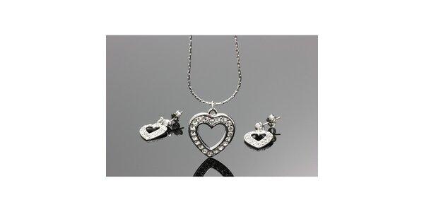 Dámsky set - srdcové náušnice a retiazka s príveskom Swarovski