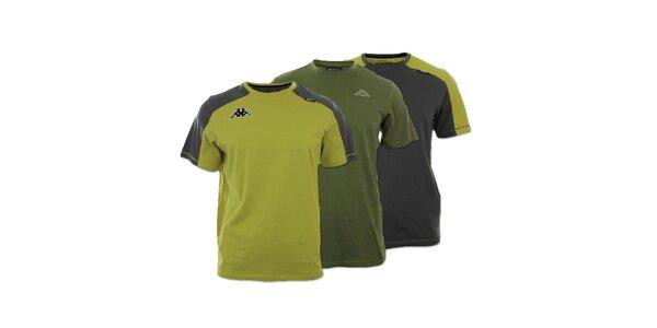 Set troch pánskych tričiek Kappa - khaki, zelenošedé a šedozelené