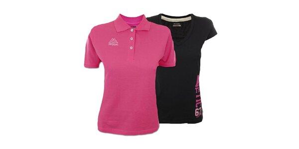 Set dvoch dámskych tričiek Kappa - ružové, čierne