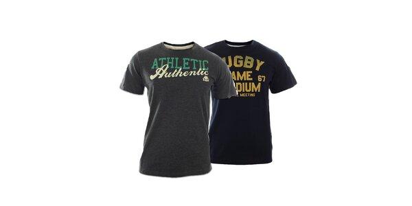 Set dvoch pánskych tričiek Kappa s nápismi - šedé, modré