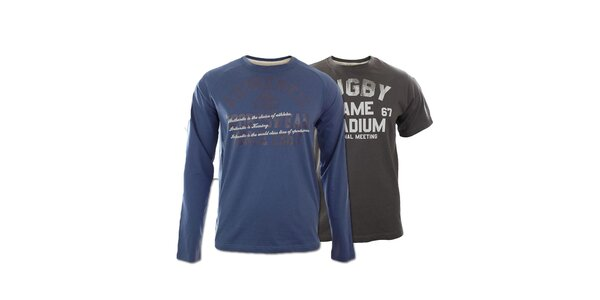 Set dvoch pánskych tričiek Kappa - modré, šedé