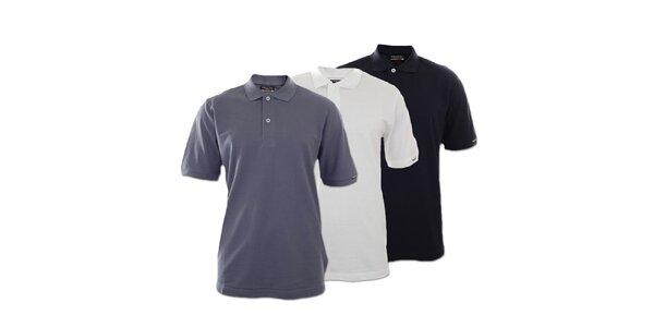 Set troch pánskych polo tričiek Kappa - tmavo modré, biele, šedé