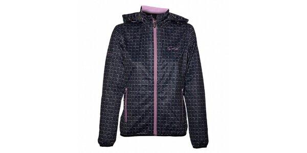 Dámska čierna outdoorová bunda s fialovými detailmi Envy