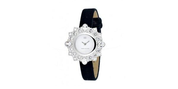 Dámske náramkové hodinky Tommy Hilfiger s čiernym zamatovým remienkom