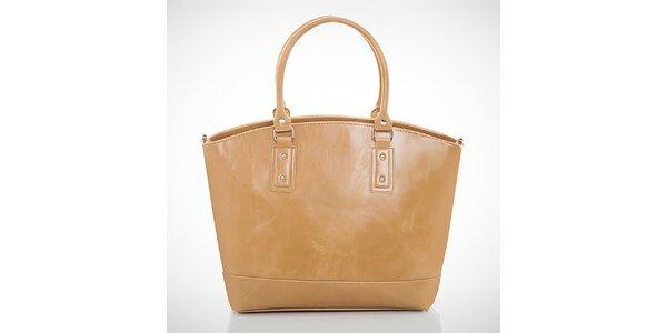 Dámska béžová kabelka s jemným žíhaním Felice