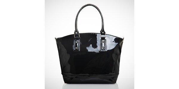 Dámska lesklá čierna kabelka s vonkajším vreckom Felice