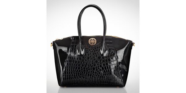 Dámska lesklá čierna kabelka s motívom hadej kože Felice