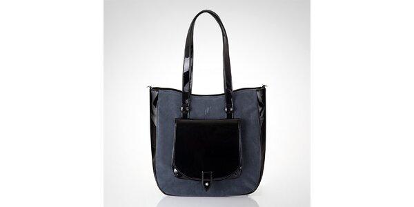 Dámska čierna kabelka so šedou semišovou časťou Felice