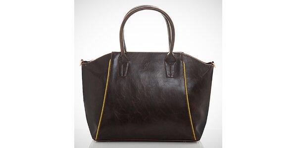 Dámska tmavo hnedá kabelka s kontrastnými zipsami Felice