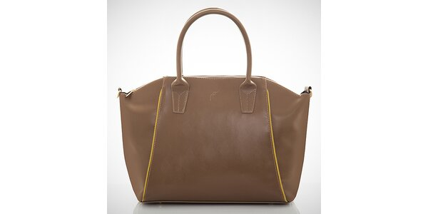 Dámska hnedá kabelka s kontrastnými zipsami Felice