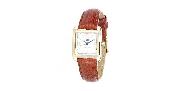 Dámske náramkové hodinky Tommy Hilfiger s hnedým remienkom