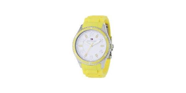 Dámske žlté hodinky Tommy Hilfiger s pryžovým remienkom