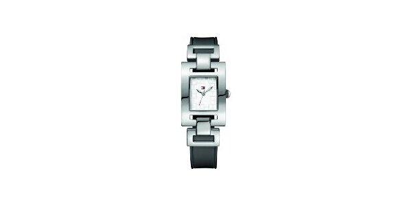 Dámske oceľové hodinky Tommy Hilfiger s čiernym koženým remienkom