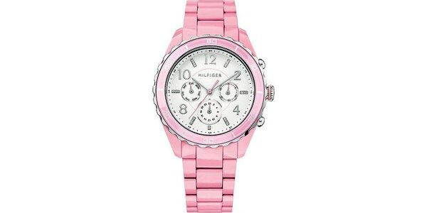 Dámske svetlo ružové hodinky Tommy Hilfiger s plastovým remienkom