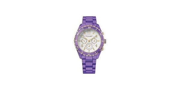 Dámske fialové hodinky Tommy Hilfiger s plastovým remienkom