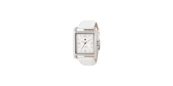 Dámske oceľové hodinky Tommy Hilfiger s bielym koženým remienkom